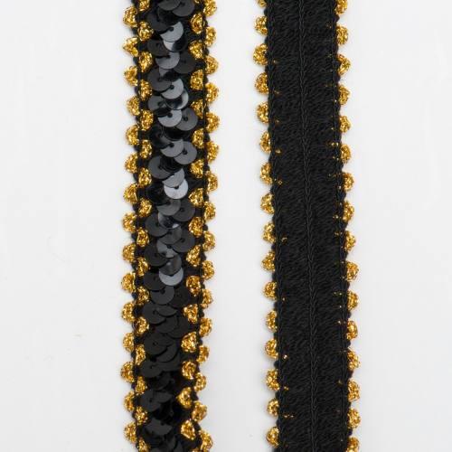 Lot de 45m de Galon élastique paillettes noires et lurex or