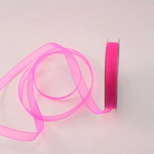 Ruban organdi en bobine rose foncé 6 mm