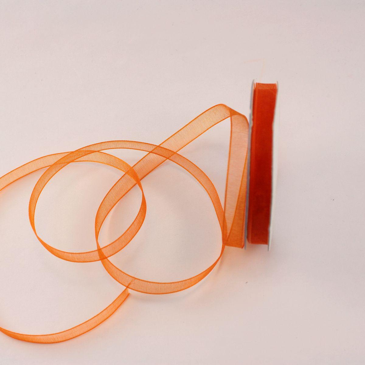 Ruban organdi en bobine orange sanguine 6 mm