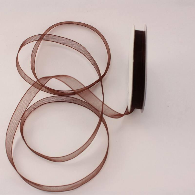 Ruban organdi en bobine marron foncé 6 mm