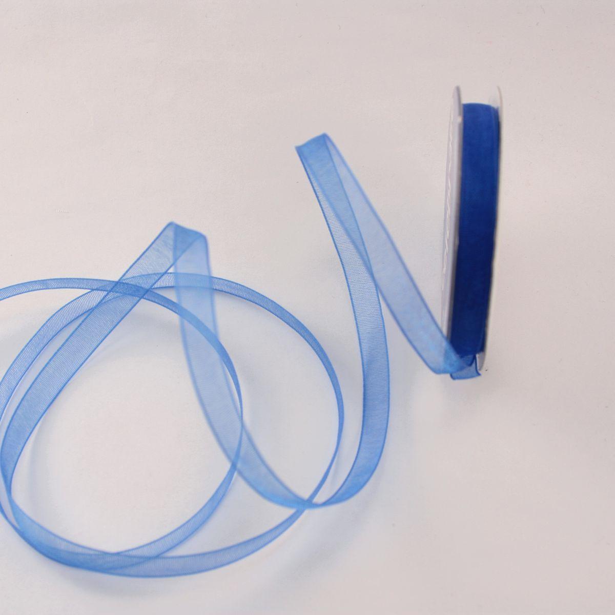 Ruban organdi en bobine bleu 6 mm
