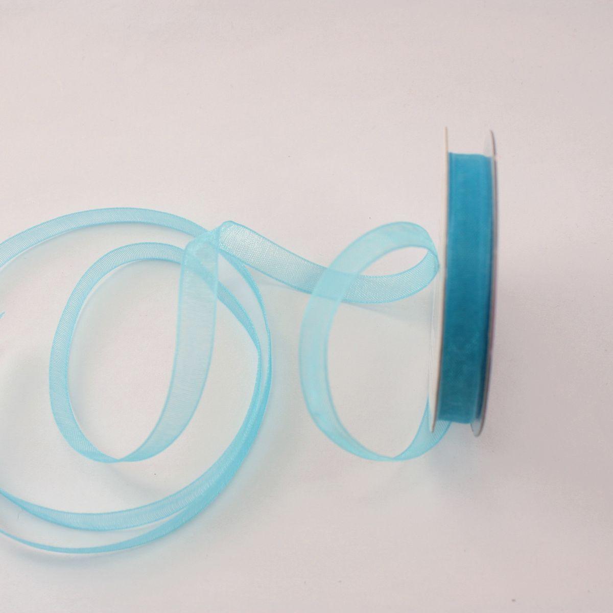 Ruban organdi en bobine bleu azurin 6 mm