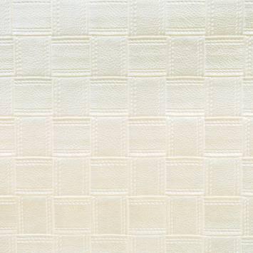 Simili cuir blanc nacré motifs carrés