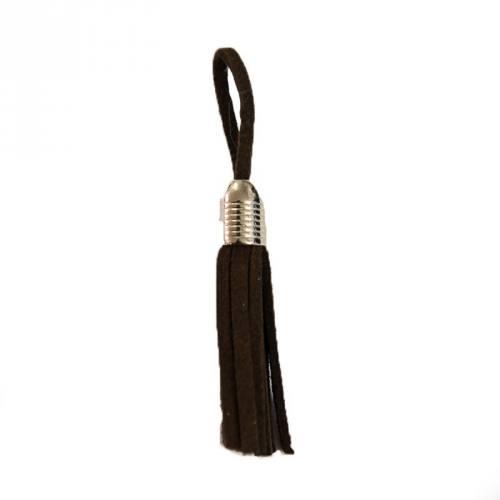 Pompon franges suédine marron 5.5cm