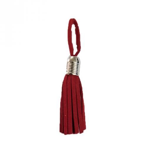 Pompon franges suédine rouge 5.5cm