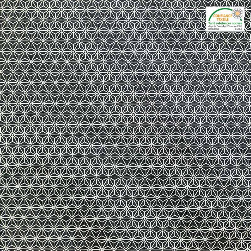 Coton enduit noir petit motif asanoha