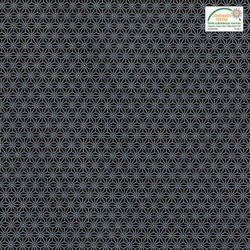 Coton bleu marine petit motif asanoha