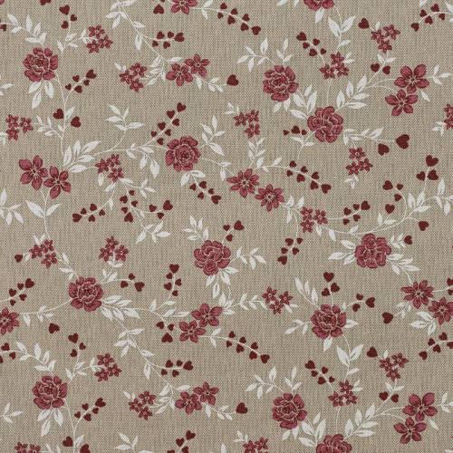 Coton enduit love fleurs rouges