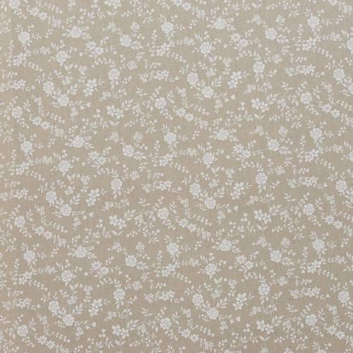 Coton enduit love fleurs blanches