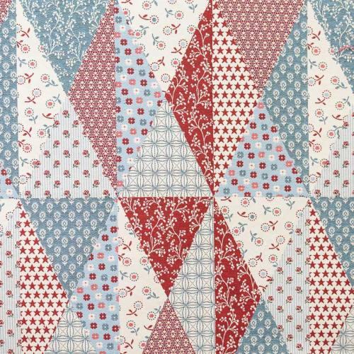 Jacquard patchwork rouge et bleu
