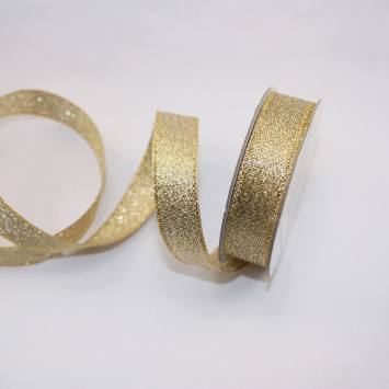 Ruban fantaisie en bobine doré 13 mm