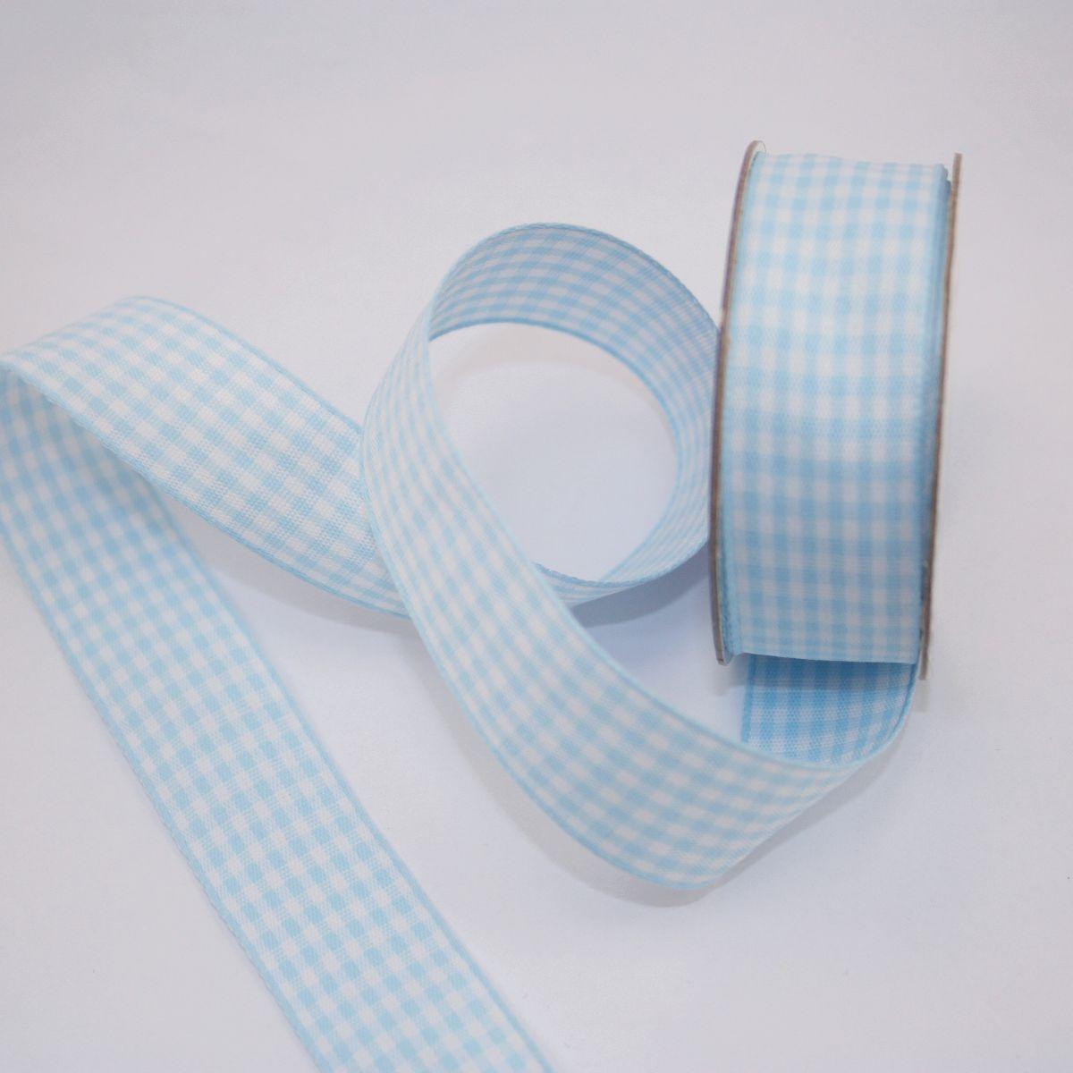 Ruban vichy en bobine bleu ciel 20 mm
