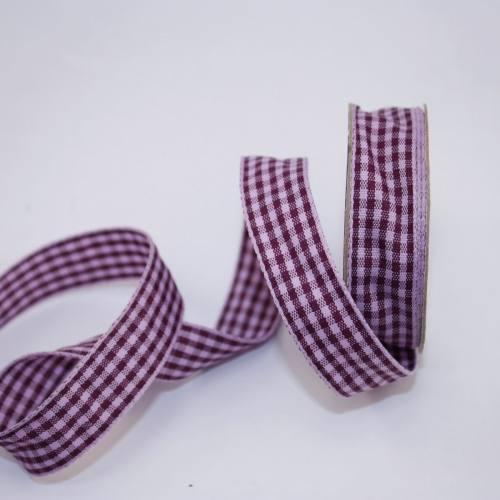 Ruban vichy en bobine violet 15 mm