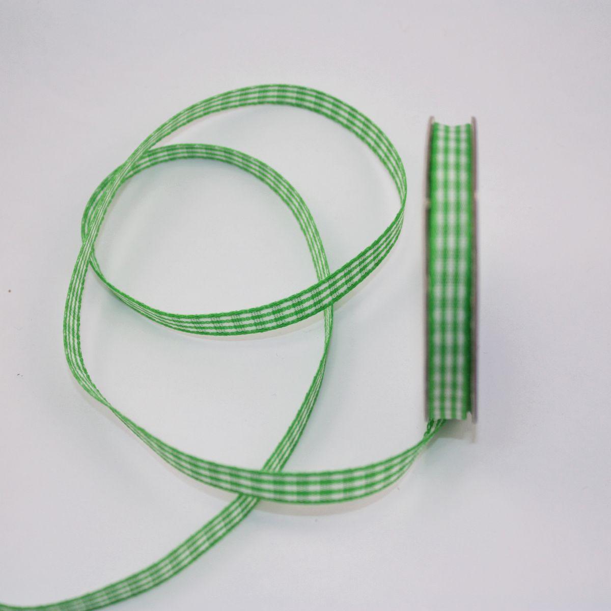 Ruban vichy en bobine vert 6 mm