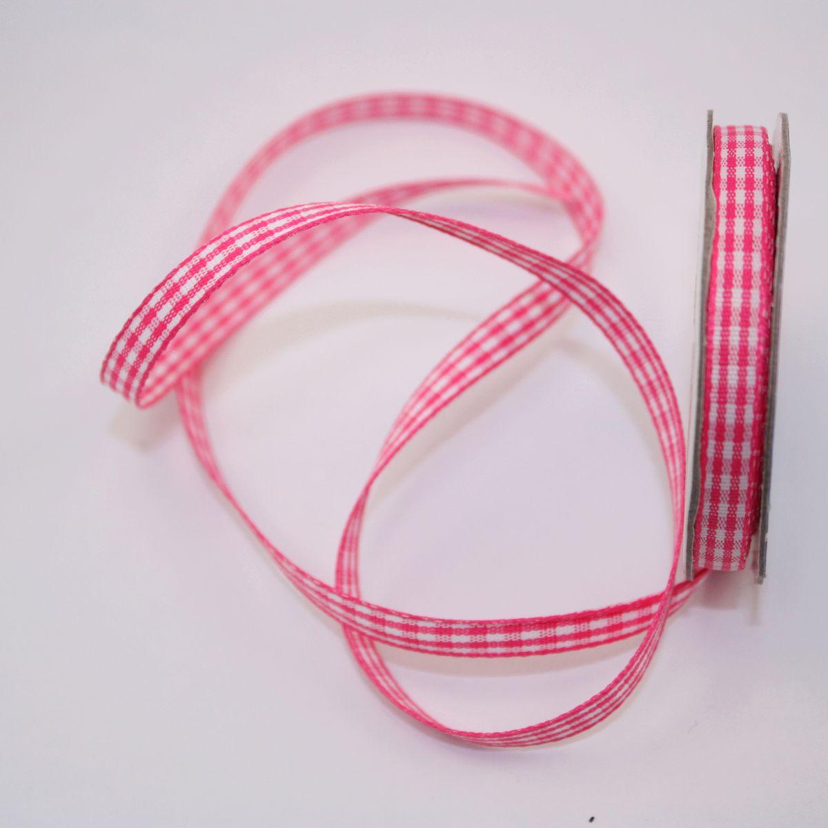 Ruban vichy en bobine rose 6 mm