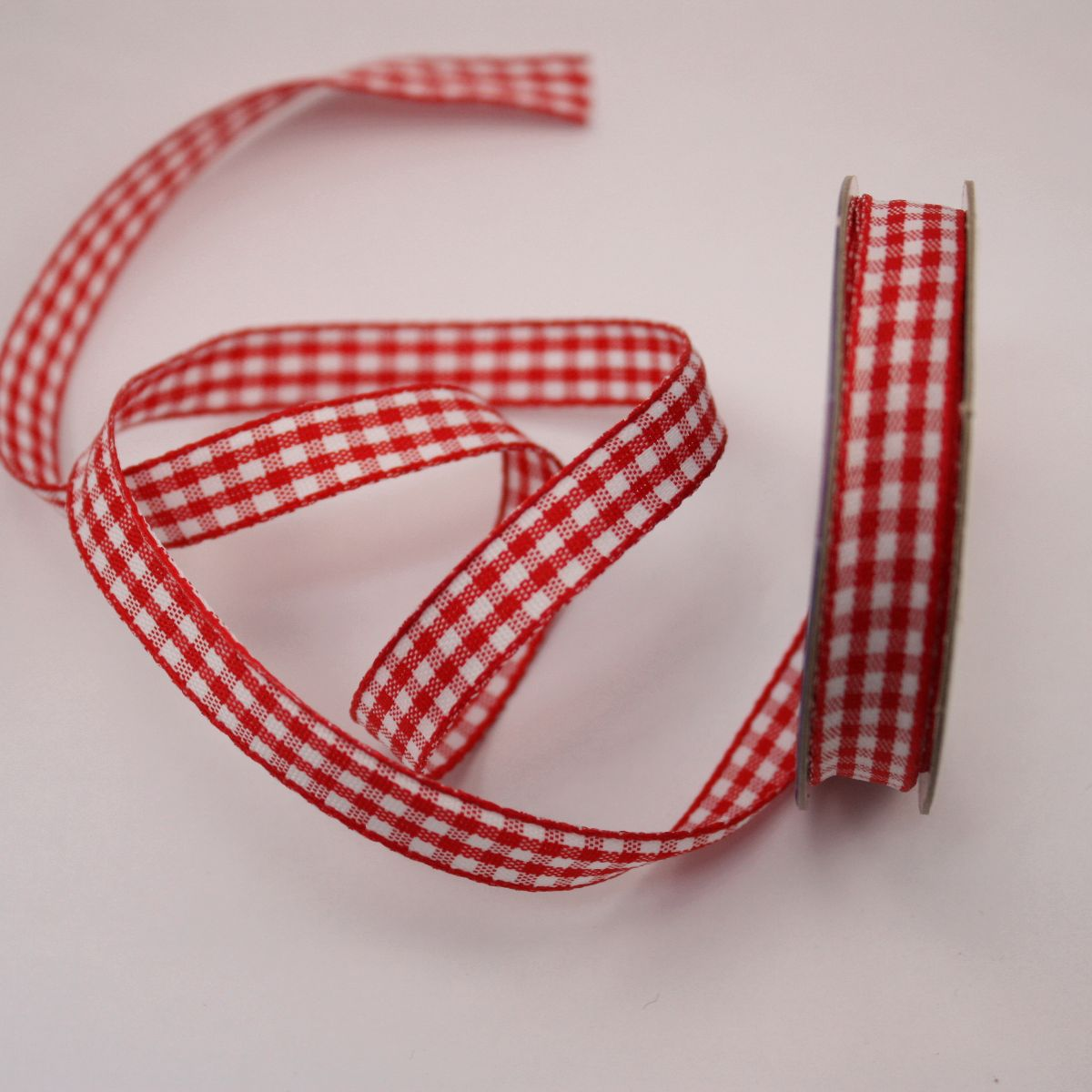 Ruban vichy en bobine rouge 9 mm