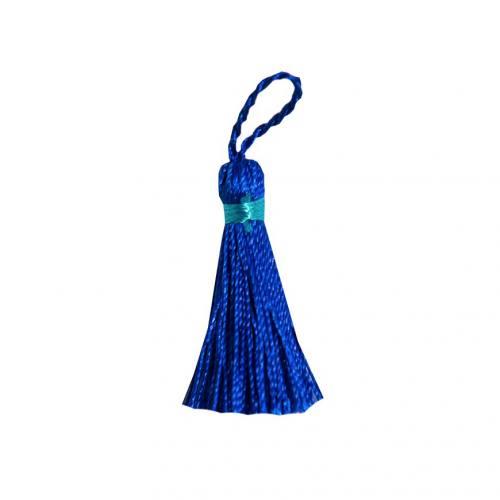 Pompon franges bicolore bleu roi 4 cm