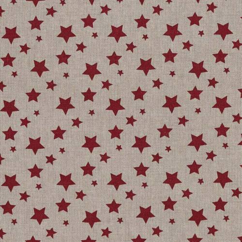 Toile coton effet lin imprimée étoiles bordeaux