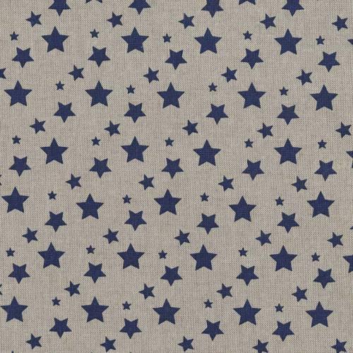 Toile coton effet lin imprimée étoiles bleues marine