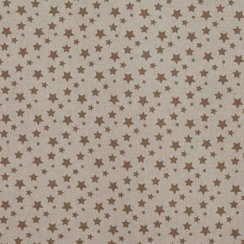 Toile coton effet lin imprimée étoiles marrons