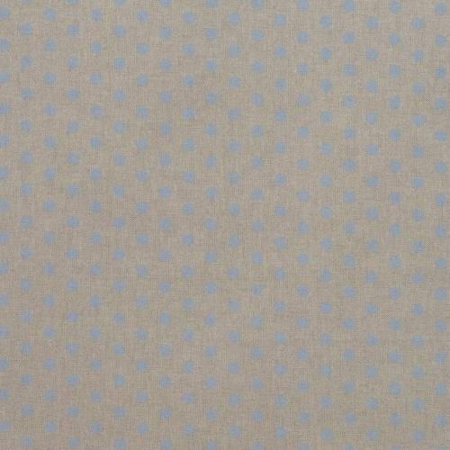 Toile coton effet lin imprimée pois bleus pastel