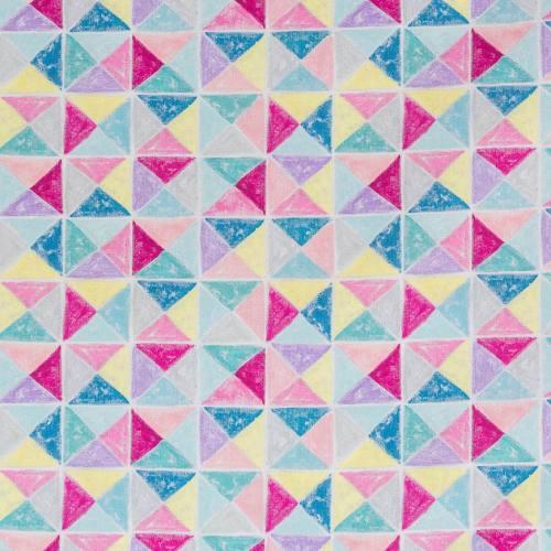 Coton impression numérique triangles pastel