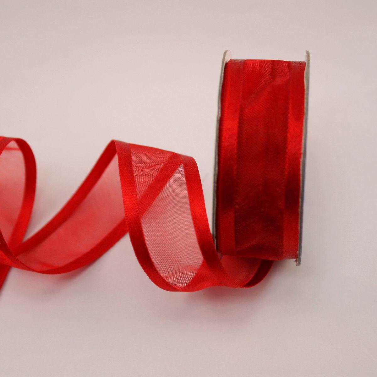 Ruban fantaisie en bobine rouge 20 mm