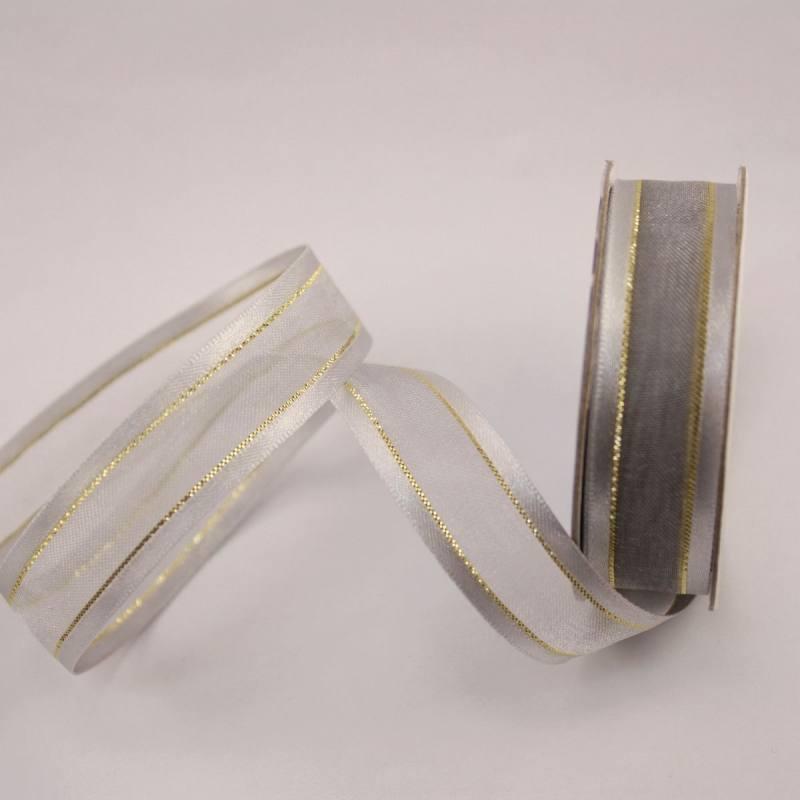 Ruban fantaisie en bobine argent 15 mm
