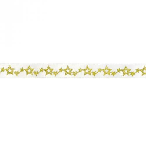 Ruban satin fantaisie en bobine blanc étoiles pailletés 12 mm