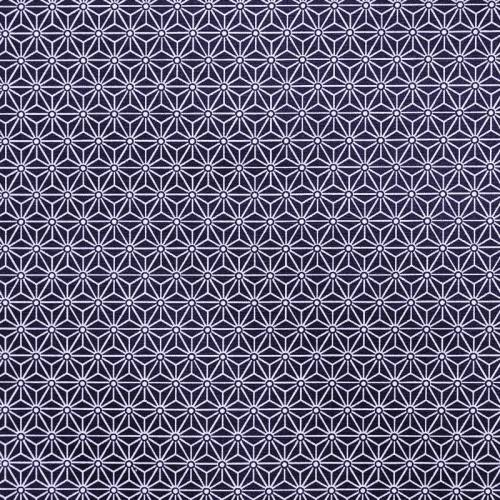 Coton enduit bleu marine petit motif asanoha