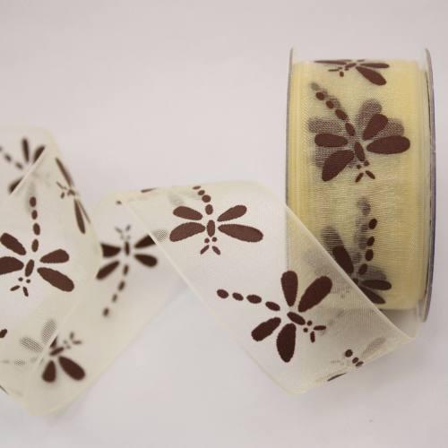 Ruban organdi fantaisie crème 25 mm