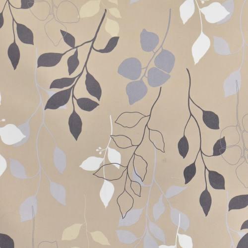 Tissu occultant beige imprimé feuilles grises