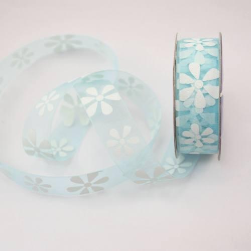 Ruban organdi fantaisie bleu ciel 15 mm