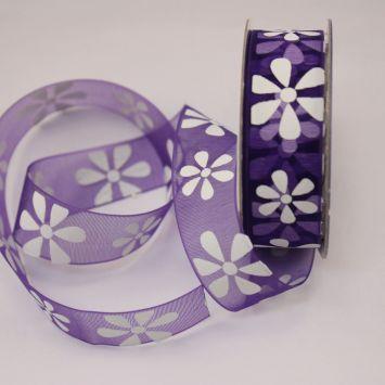 Ruban organdi fantaisie violet 15 mm