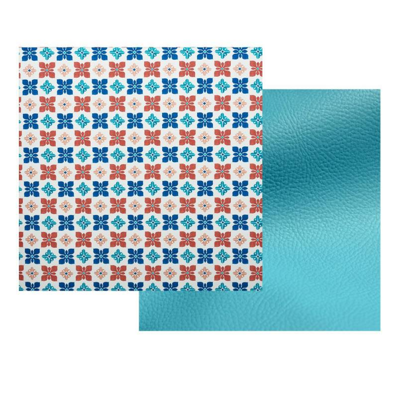 lot de 2 coupons toile polyester carreaux de ciment impression s ville simili turquoise. Black Bedroom Furniture Sets. Home Design Ideas
