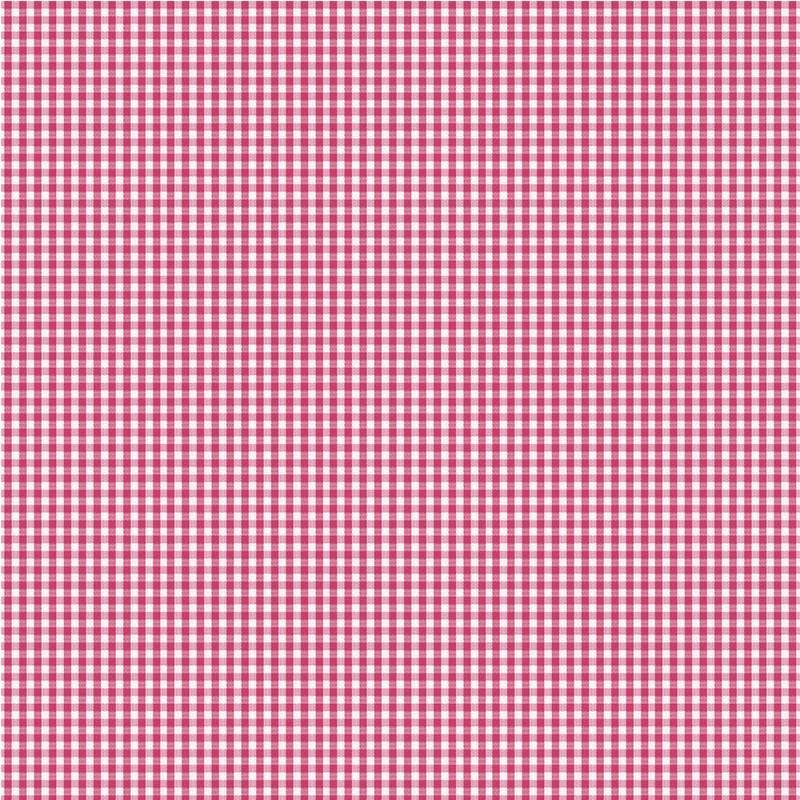 Tissu coton vichy rose foncé 3 mm