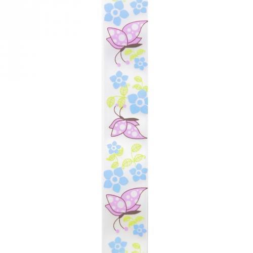 Ruban satin fantaisie en bobine papillons et fleurs 25 mm