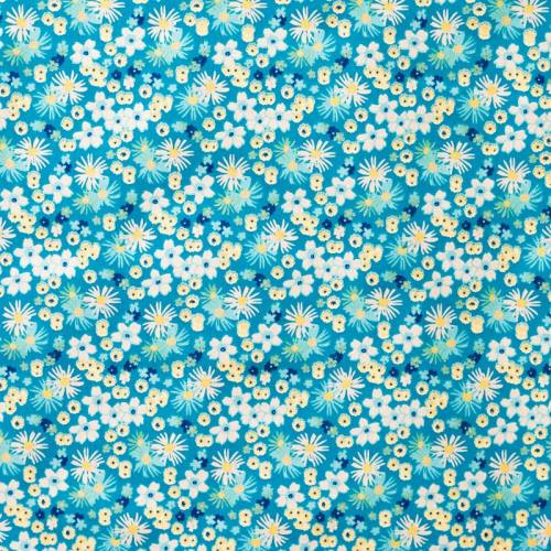 Coton fleurs zinia bleu et jaune