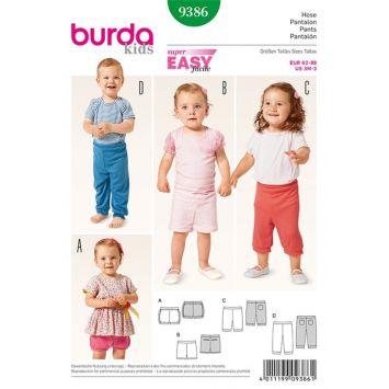 Patron Burda 9386: Pantalon, pantacourt, bermuda et short enfant Taille : 3 mois à 3 ans