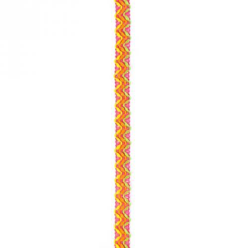 Galon 15 mm framboise à chevrons verts jaunes et oranges