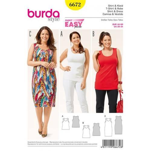 Patron Burda 6672 : T-shirt et robe Taille : 46-60