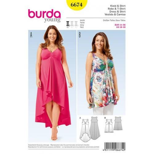 Patron Burda 6674 : T-shirt et robe Taille : 44-56