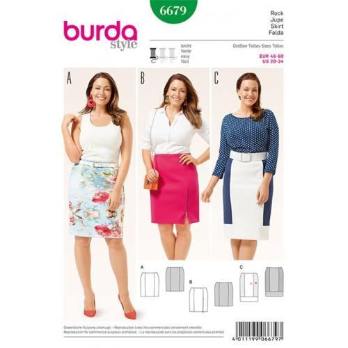 Patron Burda 6679 : Jupe Taille : 46-60