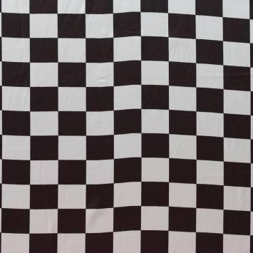 Satin damier noir et blanc 4 cm
