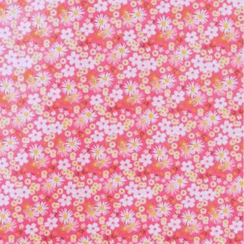 Coton fleurs zinia rose et jaune