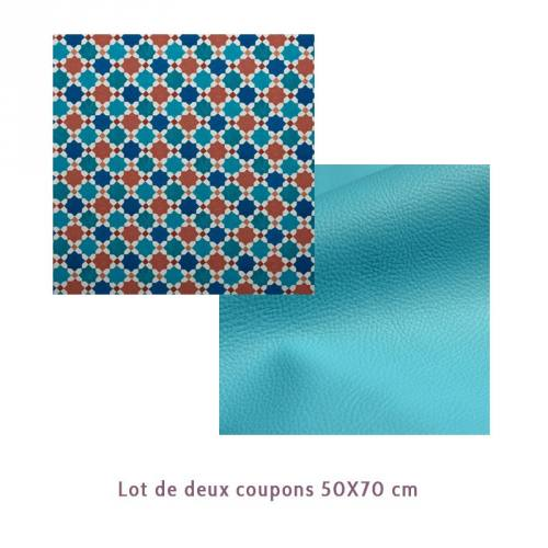 Lot de 2 coupons : Toile polyester carreaux de ciment impression Cordoue + Simili turquoise