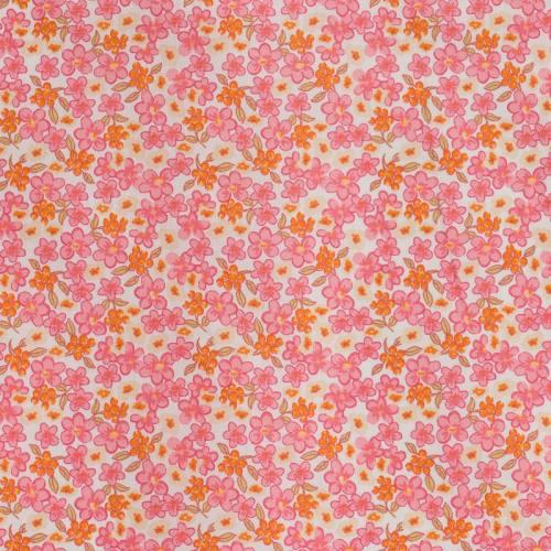 Coton fleurs lilas roses