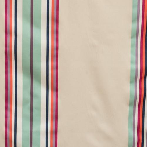 Toile coton basque rayures vert d'eau/parme/orange