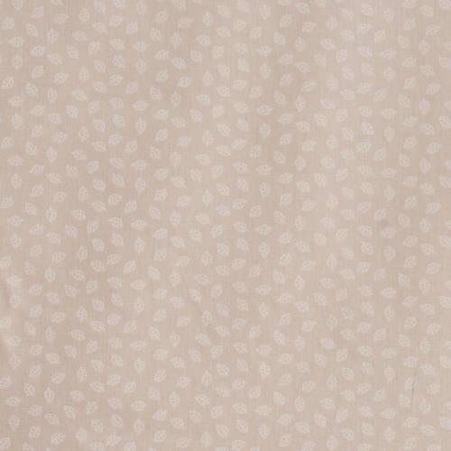 Coton taupe clair imprimé petites feuilles
