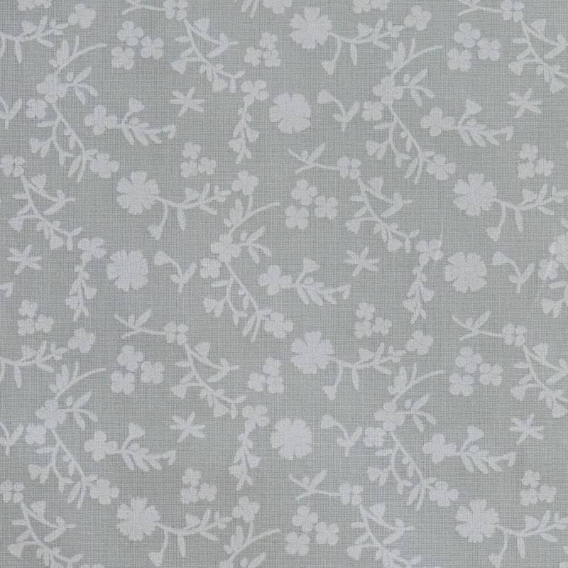 Coton gris clair imprimé fleurs marguerites